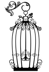 antique bird cage black and white vector design