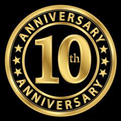 10th anniversary golden label, 10 year anniversary golden sign,