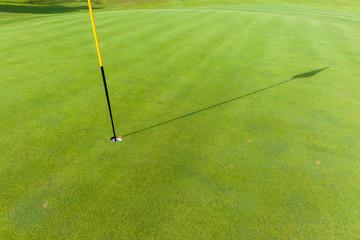 Golf Green Flag Stick Shadow