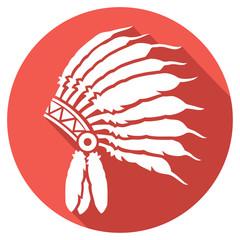 native american indian chief headdress flat icon