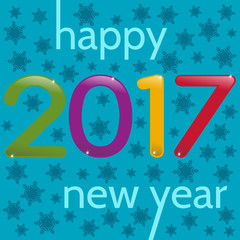 2017 Happy New Year greeting card. Multicolor numbers on a blue background with snowflakes.