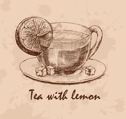 Tea with lemon. Cup with tea, lemon slice and loaf-sugar on saucer. Hand drawn graphic illustration. Vector