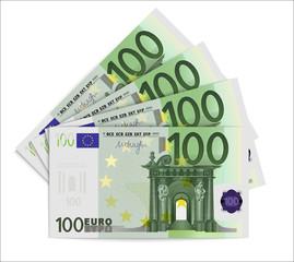 100 Euro bills. One hundred euro notes isolated on white background. Vector illustration