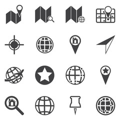 Map icons. GPS and Navigation. Vector illustration.
