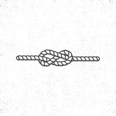 Nautical rope knot symbol on vintage roughen style. Monochrome vector design. Isolated on white background