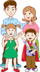 Cartoon of Happy young family in casual clothes with two children. colorful vector illustration.