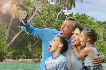Family taking selfie on  sea