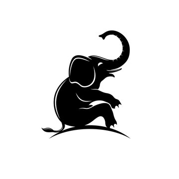 Sitting elephant.