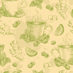Cup of green tea with ginger mint and lemon seamless. Seamless pattern with graphic hand drawn cups of tea in green colors. Vector illustration