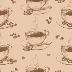 Cup of hot coffee seamless. Seamless pattern with graphic hand drawn cups of coffee and beans in brown colors. Vector illustration