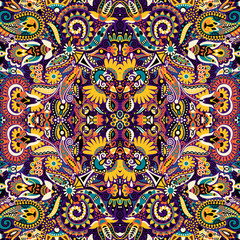Ethnic seamless background, floral pattern in Ukrainian traditio