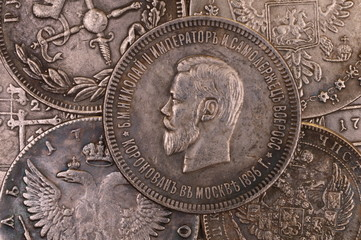 Vintage background silver ruble coin 1896 Russian emperor Nicholas II Autocrat of all Russia