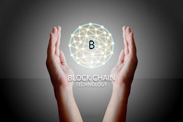 Blockchain technology concept, Woman holding virtual system diag