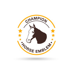 Vector horse head emblem design. Logo silhouette of a horse's head. Horse emblem, logo for a sports team on a white background.