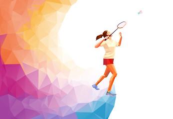 Polygonal professional badminton player. Vector illustration