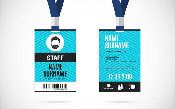 staff id card set vector design illustration