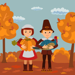Thanksgiving day children pumpkin and turkey vector illustration. Boy girl in traditional clothes template.