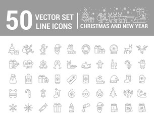 Vector graphic set. Silhouette, logo, icon. Christmas, New Year. Linear, flat, contour, thin, design. App, Web site template, infographic. Concept of Christmas sign. Element, emblem, symbol.
