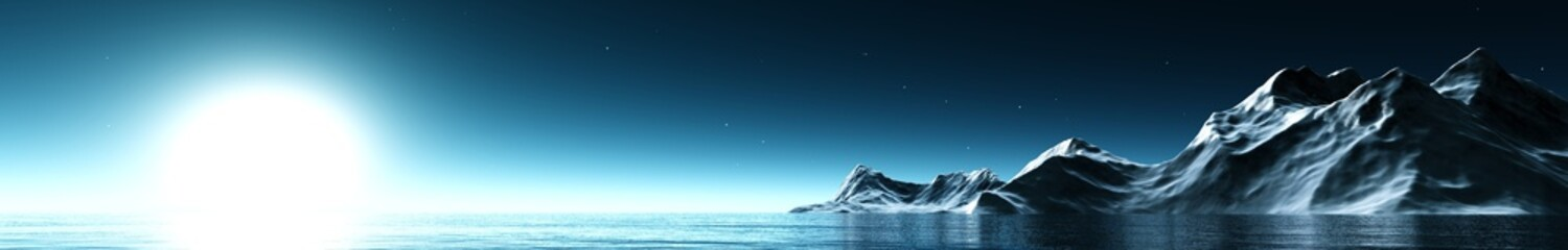 panorama seascape under the moonlight. the North Sea and the ice