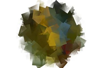 Kreisförmiges Mosaik in kubistischer Form vor weißem Hintergrund