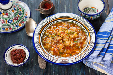 Algerian bissara pea soup. Spicy soup with peas and adzhika