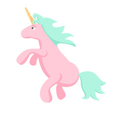 Pink unicorn vector isolated illustration. Magic cute horse.