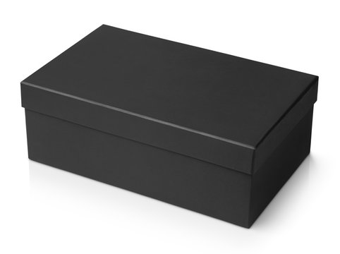 Black shoe box isolated on white with clipping path