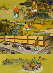 The old traditional buddhist painting on wall in temple at Seora