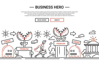 Business Hero - line design website banner temlate