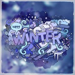 Winter hand lettering and doodles elements
