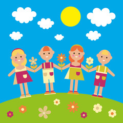 Poster with children on a green lawn. Vector illustration.