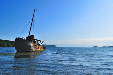 old ship wreck in the Vityaz bay of russian primorye
