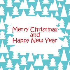 Christmas and New Year pattern with white trees on a blue backgr