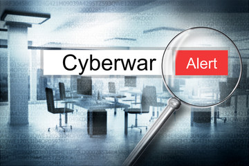reading the word cyberwar browser search security alert 3D Illus