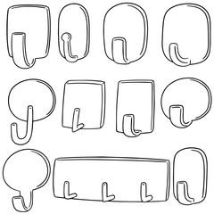 vector set of wall hooks