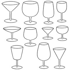 vector set of wine glass