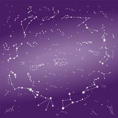 Zodiac Constellations on the Night Sky, Milky Way. Vector Illustration.