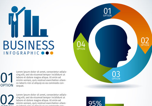 Ring Element Business and Finance Infographic with Silhouette Icon