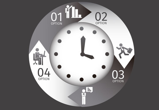 Grayscale Circle Element Business Infographic with Clock Illustration and Pictograms