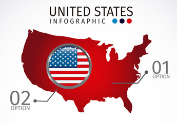 U.S. Map Silhouette Element United States Data Infographic with Icon Set