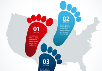 Footprint Shape and U.S. Map Silhouette Element United States Data Infographic