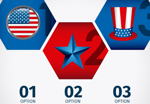 Hexagonal Tile United States Data Infographic with Icon Set 2