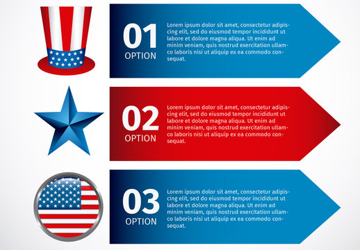 3 Arrow Banner United States Data Infographic with Icon Set 3