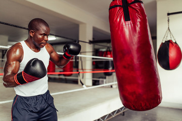 Focused muscular African boxer in a gym