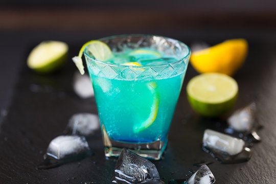 Blue Lagoon Cocktail with Lime and Ice