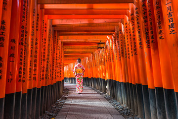 Women in kimono stand at Red Torii gates in Fushimi Inari shrine, one of famous landmarks in Kyoto, Japan