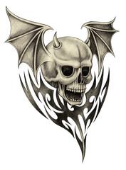 Skull devil tattoo.Hand pencil drawing on paper.