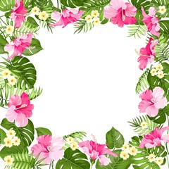 Tropical flower frame with place for summer holidays text. Vector illustration.