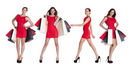 Shopping. Fashion young women portrait isolated. Happy girls hol