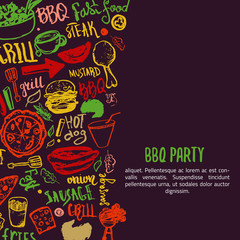 BBQ opening party announcement. Doodle hand-drawn poster with barbeque accessories, lettering vector illustration on dark background.